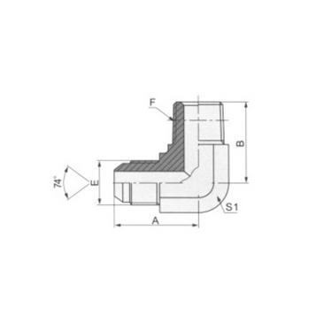 90°弯美制JIC外螺纹74°外锥/英锥管外螺纹